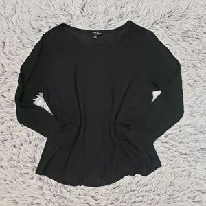 Lucky Brand Black Waffle Knit Long Sleeve Top